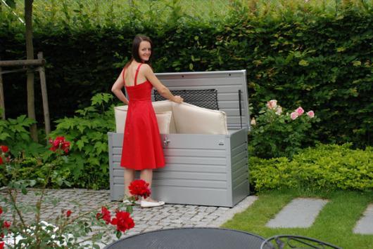 Arcon metalico biohort de ocio 130 cofre baul de jardin for Ocio y jardin