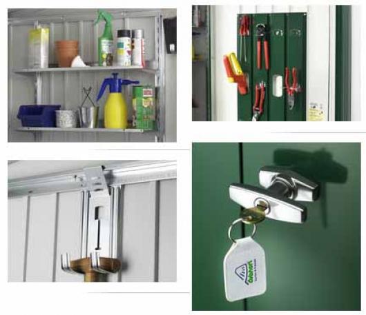 Armario metalico biohort alto jardin color verde oscuro for Armario herramientas jardin