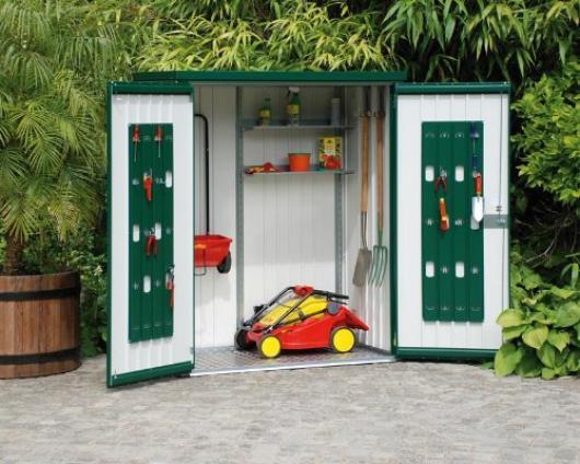 Armario metalico biohort alto jardin color verde oscuro - Armarios de jardin de resina ...