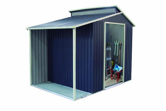 Caseta cobertizo metal con porche lateral nottingham gris for Casetas de jardin con porche