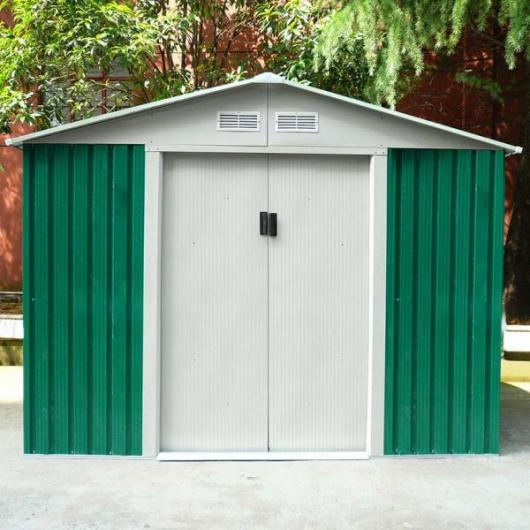 Caseta cobertizo metal jardin cambridge verde gardiun for Cobertizo de metal