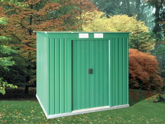 casetas de metal caseta cobertizo metal jardin pent roof 6x4 duramax verde