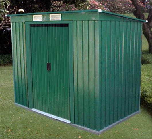 Caseta cobertizo metal jardin pent roof 6x4 duramax verde for Casetas de metal para jardin