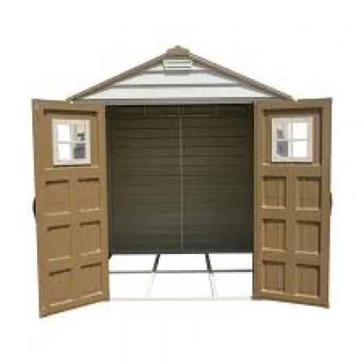 Caseta cobertizo pvc jardin storemax 7x7 duramax casetas for Cobertizo de jardin de techo plano de pvc
