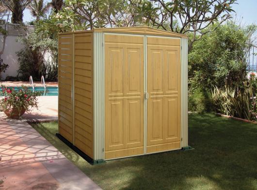 Caseta cobertizo pvc jardin yardwood 55 duramax casetas for Cobertizo de jardin de techo plano de pvc