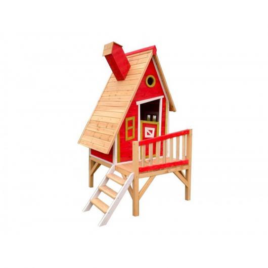 Casita infantil de madera outdoor toys gulliver rojo for Casita exterior infantil