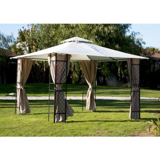 Cenador gazebo de acero con cubierta de tela y cortinas sagres pergolas cenadores y arcos de - Carpas de jardin ikea bordeaux ...