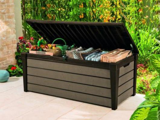 Cofre baul arcon resina jardin keter brushwood 455 lts arcones baules y cofres de resina y - Baul de jardin ...