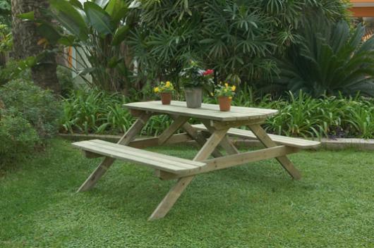 Mesas picnic de madera para jardin muebles de jardin y for Antas jardin