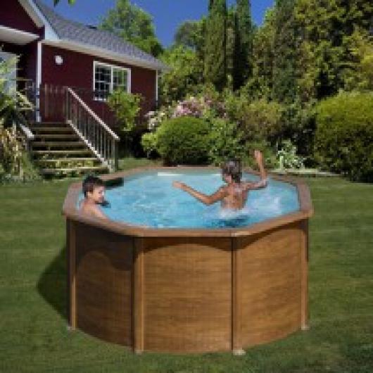 Piscina gre redonda kitpr3583w imitacion madera piscinas for Precios de piscinas desmontables ofertas