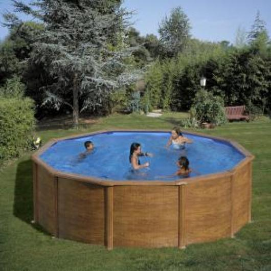 Piscina gre redonda kitpr4583w imitacion madera piscinas - Liner piscina redonda ...